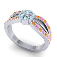 Simple Floral Pave Kalikda Aquamarine Ring with Pink Tourmaline and Citrine in 18k White Gold