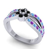 Simple Floral Pave Kalikda Black Onyx Ring with Amethyst and Swiss Blue Topaz in 18k White Gold
