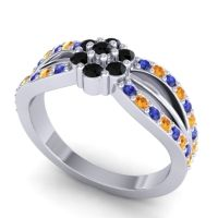 Simple Floral Pave Kalikda Black Onyx Ring with Citrine and Blue Sapphire in 18k White Gold