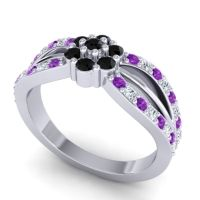 Simple Floral Pave Kalikda Black Onyx Ring with Diamond and Amethyst in 18k White Gold