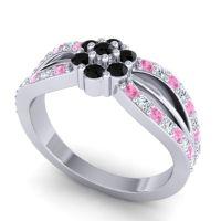 Simple Floral Pave Kalikda Black Onyx Ring with Diamond and Pink Tourmaline in Platinum