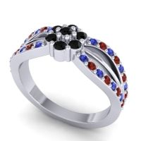 Simple Floral Pave Kalikda Black Onyx Ring with Garnet and Blue Sapphire in 18k White Gold