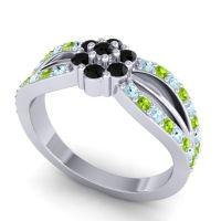 Simple Floral Pave Kalikda Black Onyx Ring with Peridot and Aquamarine in Platinum