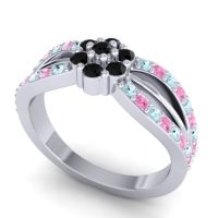 Simple Floral Pave Kalikda Black Onyx Ring with Pink Tourmaline and Aquamarine in 18k White Gold