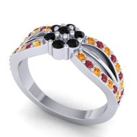 Simple Floral Pave Kalikda Black Onyx Ring with Ruby and Citrine in 14k White Gold