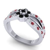 Simple Floral Pave Kalikda Black Onyx Ring with Ruby and Diamond in Platinum