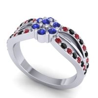 Simple Floral Pave Kalikda Blue Sapphire Ring with Black Onyx and Ruby in 14k White Gold