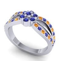Simple Floral Pave Kalikda Blue Sapphire Ring with Citrine in Platinum