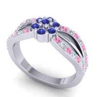 Simple Floral Pave Kalikda Blue Sapphire Ring with Diamond and Pink Tourmaline in 14k White Gold