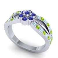 Simple Floral Pave Kalikda Blue Sapphire Ring with Peridot and Aquamarine in Platinum