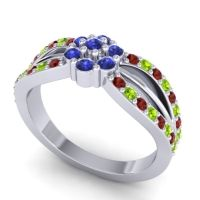 Simple Floral Pave Kalikda Blue Sapphire Ring with Peridot and Garnet in Platinum