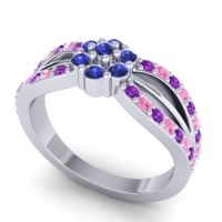 Simple Floral Pave Kalikda Blue Sapphire Ring with Pink Tourmaline and Amethyst in Platinum