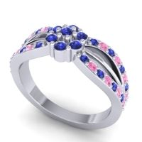 Simple Floral Pave Kalikda Blue Sapphire Ring with Pink Tourmaline in 18k White Gold