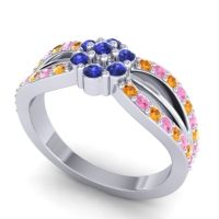 Simple Floral Pave Kalikda Blue Sapphire Ring with Pink Tourmaline and Citrine in 14k White Gold