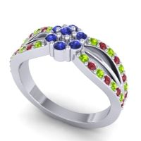 Simple Floral Pave Kalikda Blue Sapphire Ring with Ruby and Peridot in 14k White Gold