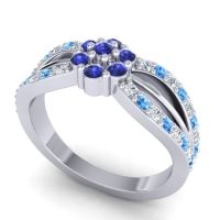 Simple Floral Pave Kalikda Blue Sapphire Ring with Swiss Blue Topaz and Diamond in 18k White Gold