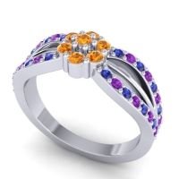 Simple Floral Pave Kalikda Citrine Ring with Amethyst and Blue Sapphire in 14k White Gold