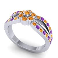 Simple Floral Pave Kalikda Citrine Ring with Amethyst in 14k White Gold