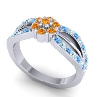 Simple Floral Pave Kalikda Citrine Ring with Aquamarine and Swiss Blue Topaz in Platinum