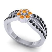 Simple Floral Pave Kalikda Citrine Ring with Black Onyx in 18k White Gold