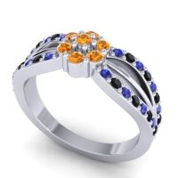 Simple Floral Pave Kalikda Citrine Ring with Black Onyx and Blue Sapphire in Palladium