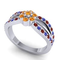 Simple Floral Pave Kalikda Citrine Ring with Blue Sapphire and Garnet in 18k White Gold