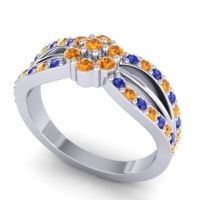 Simple Floral Pave Kalikda Citrine Ring with Blue Sapphire in 18k White Gold