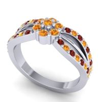 Simple Floral Pave Kalikda Citrine Ring with Garnet in 14k White Gold
