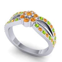 Simple Floral Pave Kalikda Citrine Ring with Peridot in Palladium