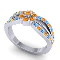 Simple Floral Pave Kalikda Citrine Ring with Swiss Blue Topaz in Platinum