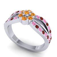 Simple Floral Pave Kalikda Citrine Ring with Garnet and Pink Tourmaline in Platinum