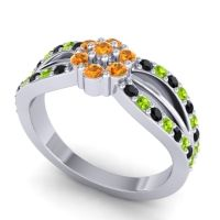 Simple Floral Pave Kalikda Citrine Ring with Peridot and Black Onyx in Palladium