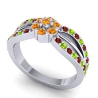 Simple Floral Pave Kalikda Citrine Ring with Peridot and Garnet in Platinum