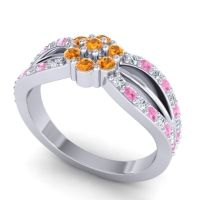 Simple Floral Pave Kalikda Citrine Ring with Pink Tourmaline and Diamond in 14k White Gold