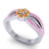 Simple Floral Pave Kalikda Citrine Ring with Pink Tourmaline in 18k White Gold