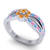 Simple Floral Pave Kalikda Citrine Ring with Pink Tourmaline and Swiss Blue Topaz in 14k White Gold