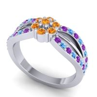 Simple Floral Pave Kalikda Citrine Ring with Swiss Blue Topaz and Amethyst in 14k White Gold