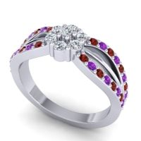 Simple Floral Pave Kalikda Diamond Ring with Amethyst and Garnet in 14k White Gold