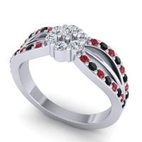 Simple Floral Pave Kalikda Diamond Ring with Black Onyx and Ruby in Platinum
