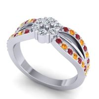 Simple Floral Pave Kalikda Diamond Ring with Citrine and Ruby in 14k White Gold