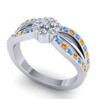 Simple Floral Pave Kalikda Diamond Ring with Citrine and Swiss Blue Topaz in 18k White Gold