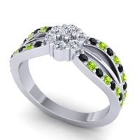 Simple Floral Pave Kalikda Diamond Ring with Peridot and Black Onyx in 18k White Gold