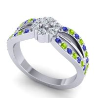 Simple Floral Pave Kalikda Diamond Ring with Peridot and Blue Sapphire in 14k White Gold