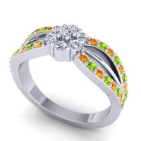 Simple Floral Pave Kalikda Diamond Ring with Peridot and Citrine in Platinum