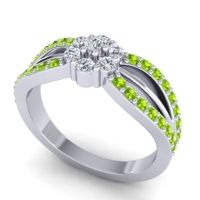 Simple Floral Pave Kalikda Diamond Ring with Peridot in 18k White Gold