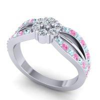 Simple Floral Pave Kalikda Diamond Ring with Pink Tourmaline and Aquamarine in 14k White Gold