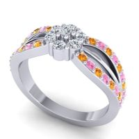Simple Floral Pave Kalikda Diamond Ring with Pink Tourmaline and Citrine in 14k White Gold