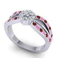 Simple Floral Pave Kalikda Diamond Ring with Pink Tourmaline and Garnet in Platinum
