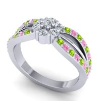 Simple Floral Pave Kalikda Diamond Ring with Pink Tourmaline and Peridot in 14k White Gold