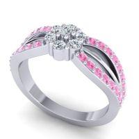 Simple Floral Pave Kalikda Diamond Ring with Pink Tourmaline in 18k White Gold